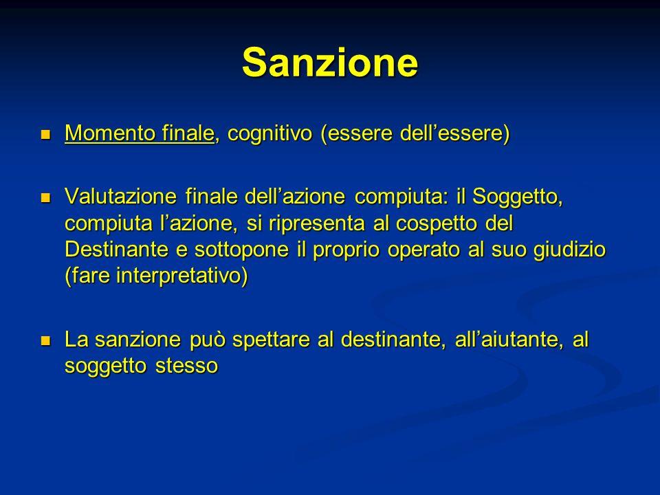 Sanzione Momento finale, cognitivo (essere dellessere) Momento finale, cognitivo (essere dellessere) Valutazione finale dellazione compiuta: il Sogget