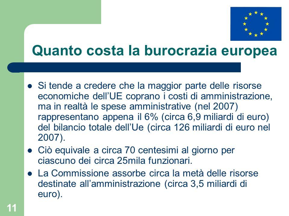 11 Quanto costa la burocrazia europea Si tende a credere che la maggior parte delle risorse economiche dellUE coprano i costi di amministrazione, ma in realtà le spese amministrative (nel 2007) rappresentano appena il 6% (circa 6,9 miliardi di euro) del bilancio totale dellUe (circa 126 miliardi di euro nel 2007).