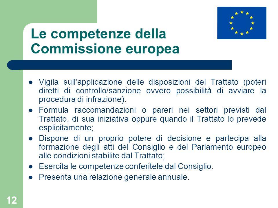 12 Le competenze della Commissione europea Vigila sullapplicazione delle disposizioni del Trattato (poteri diretti di controllo/sanzione ovvero possibilità di avviare la procedura di infrazione).