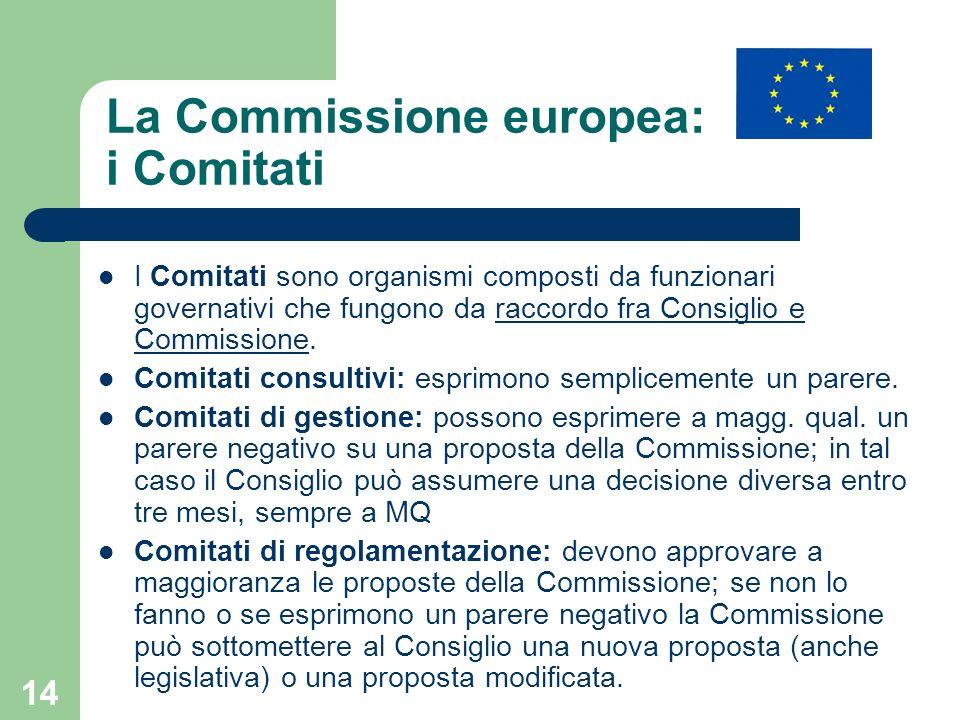 14 La Commissione europea: i Comitati I Comitati sono organismi composti da funzionari governativi che fungono da raccordo fra Consiglio e Commissione