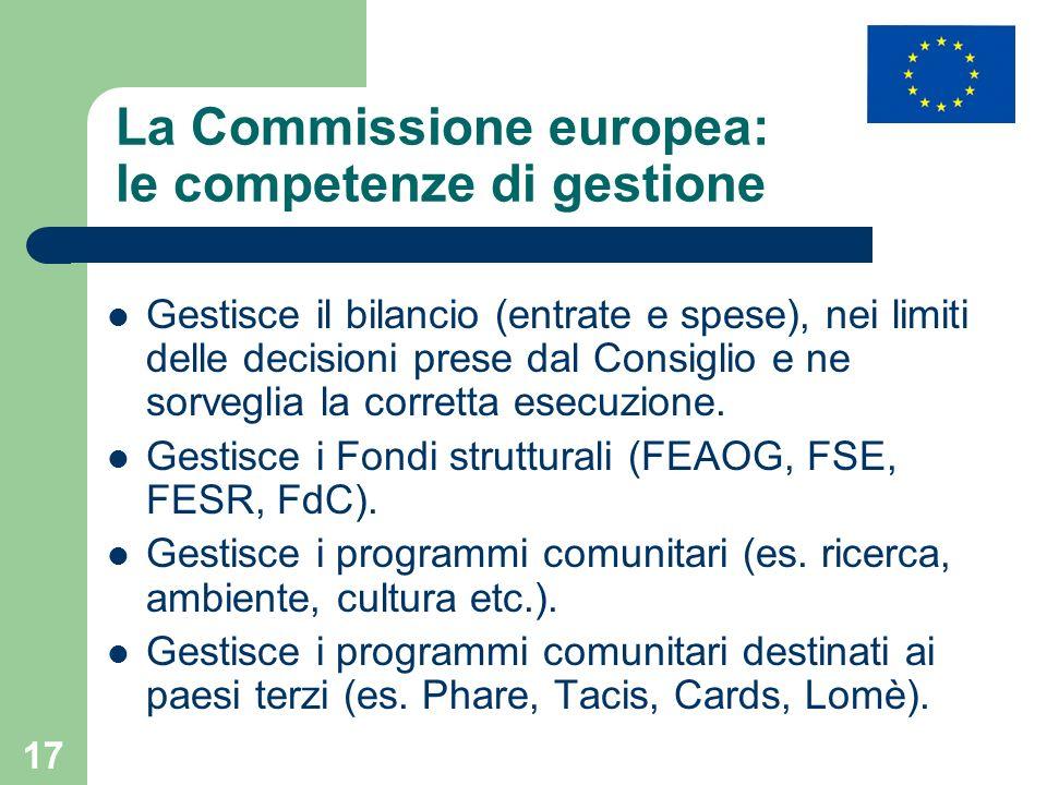 17 La Commissione europea: le competenze di gestione Gestisce il bilancio (entrate e spese), nei limiti delle decisioni prese dal Consiglio e ne sorveglia la corretta esecuzione.