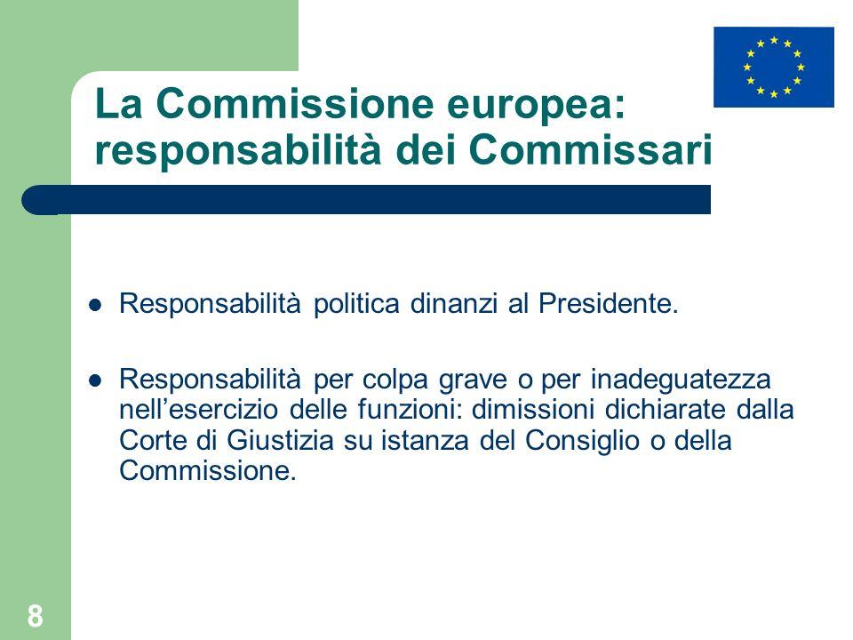 8 La Commissione europea: responsabilità dei Commissari Responsabilità politica dinanzi al Presidente. Responsabilità per colpa grave o per inadeguate