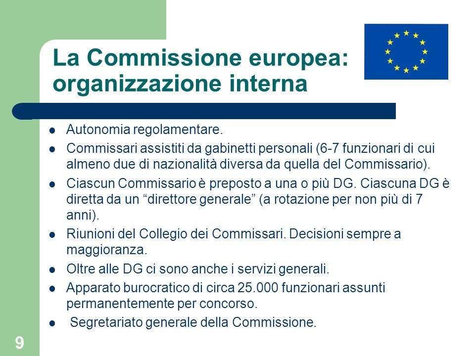 9 La Commissione europea: organizzazione interna Autonomia regolamentare. Commissari assistiti da gabinetti personali (6-7 funzionari di cui almeno du