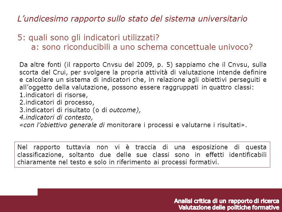 Lundicesimo rapporto sullo stato del sistema universitario 5: quali sono gli indicatori utilizzati.