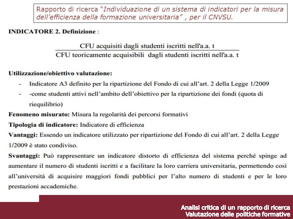 Rapporto di ricerca Individuazione di un sistema di indicatori per la misura dellefficienza della formazione universitaria, per il CNVSU.