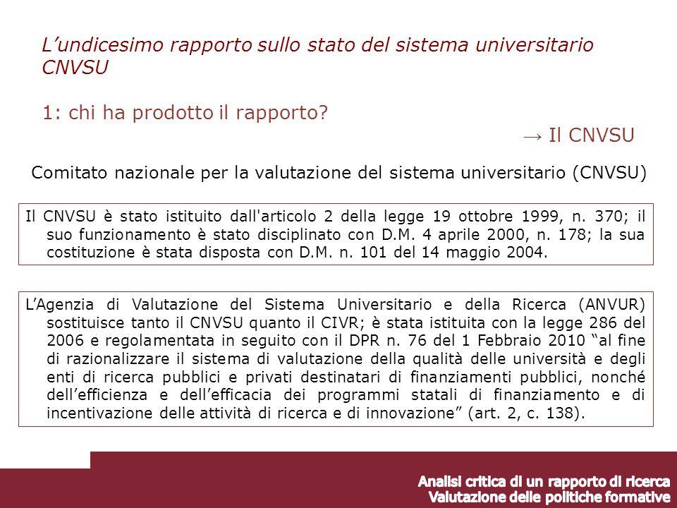 Il CNVSU è stato istituito dall articolo 2 della legge 19 ottobre 1999, n.