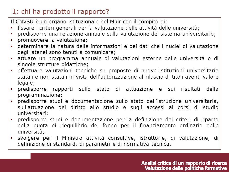 1: chi ha prodotto il rapporto.