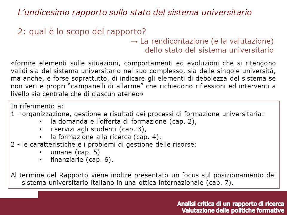 In riferimento a: 1 - organizzazione, gestione e risultati dei processi di formazione universitaria: la domanda e lofferta di formazione (cap.