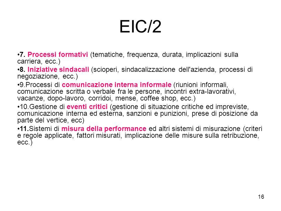 16 EIC/2 7. Processi formativi (tematiche, frequenza, durata, implicazioni sulla carriera, ecc.) 8. Iniziative sindacali (scioperi, sindacalizzazione