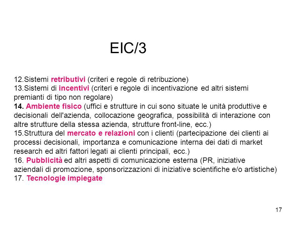 17 EIC/3 12.Sistemi retributivi (criteri e regole di retribuzione) 13.Sistemi di incentivi (criteri e regole di incentivazione ed altri sistemi premia