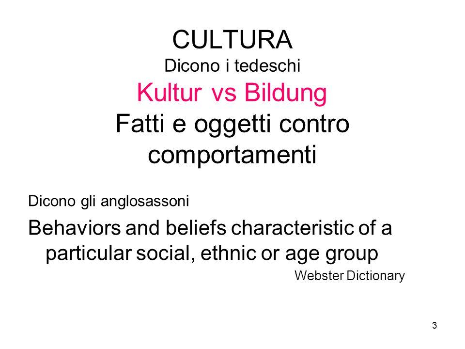 3 CULTURA Dicono i tedeschi Kultur vs Bildung Fatti e oggetti contro comportamenti Dicono gli anglosassoni Behaviors and beliefs characteristic of a p