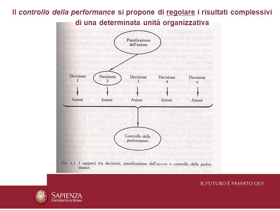 Il controllo della performance si propone di regolare i risultati complessivi di una determinata unità organizzativa