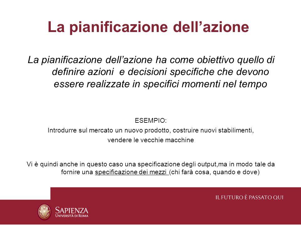 La pianificazione dellazione La pianificazione dellazione ha come obiettivo quello di definire azioni e decisioni specifiche che devono essere realizz