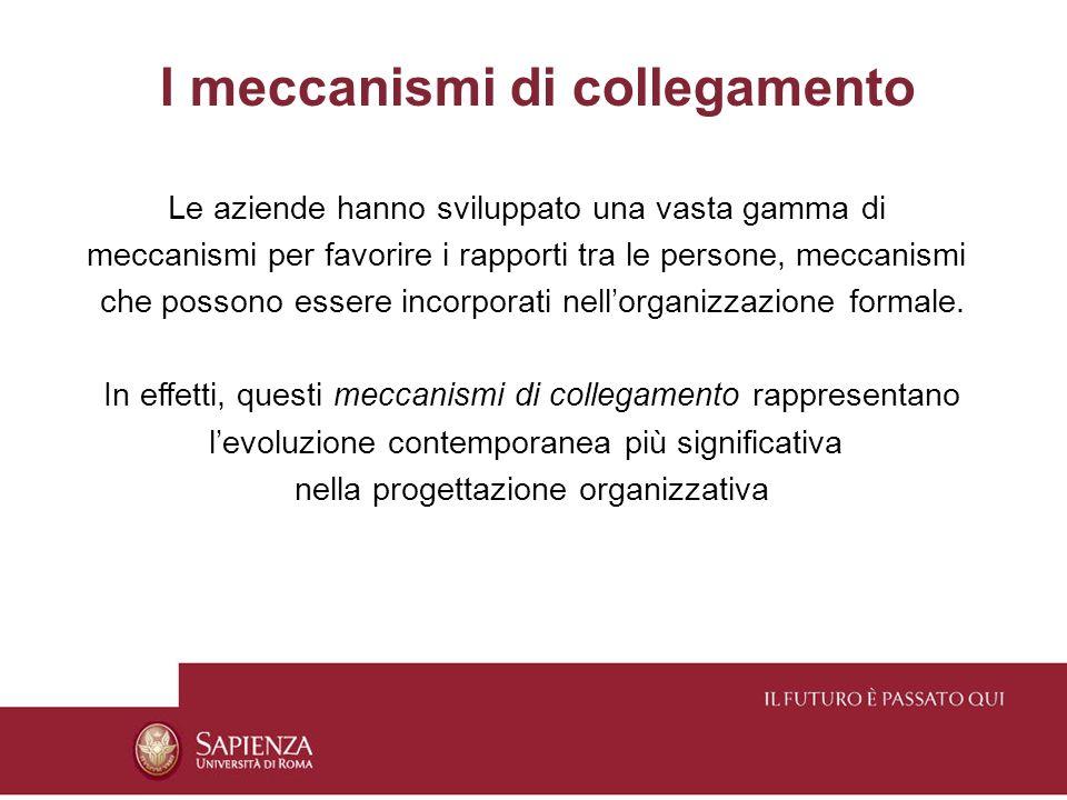 Le aziende hanno sviluppato una vasta gamma di meccanismi per favorire i rapporti tra le persone, meccanismi che possono essere incorporati nellorgani