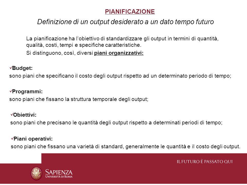 PIANIFICAZIONE Definizione di un output desiderato a un dato tempo futuro La pianificazione ha lobiettivo di standardizzare gli output in termini di q