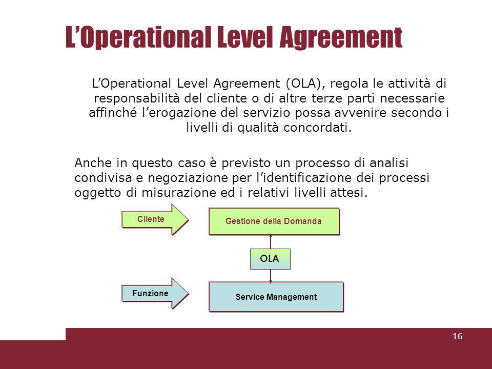LOperational Level Agreement 16 LOperational Level Agreement (OLA), regola le attività di responsabilità del cliente o di altre terze parti necessarie affinché lerogazione del servizio possa avvenire secondo i livelli di qualità concordati.