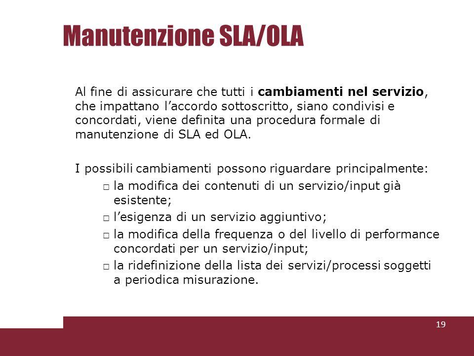 Manutenzione SLA/OLA 19 Al fine di assicurare che tutti i cambiamenti nel servizio, che impattano laccordo sottoscritto, siano condivisi e concordati, viene definita una procedura formale di manutenzione di SLA ed OLA.