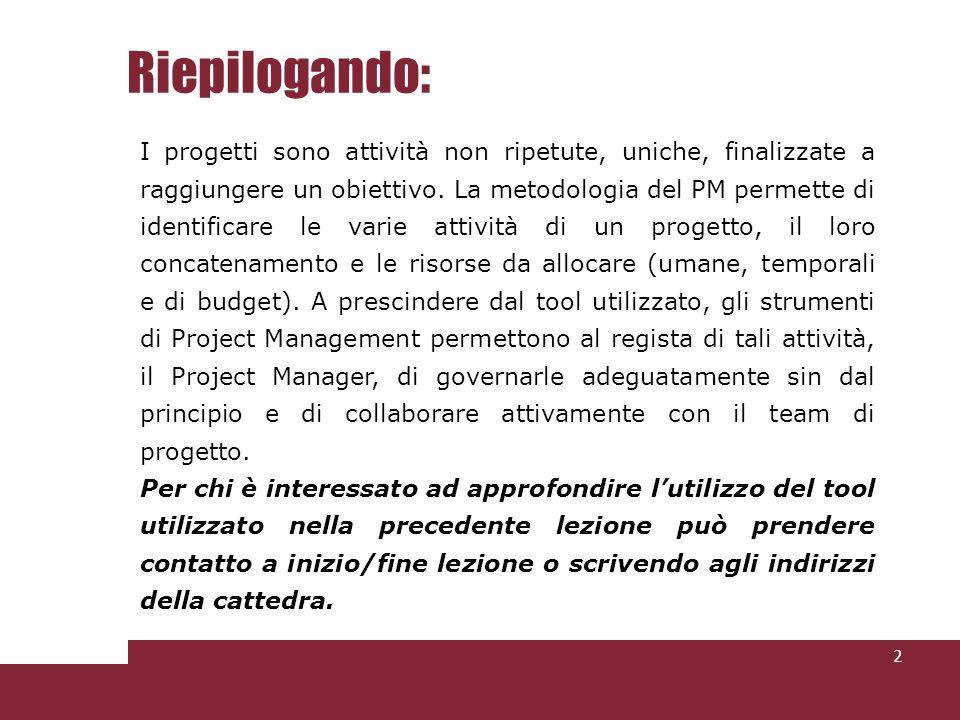 Riepilogando: 2 I progetti sono attività non ripetute, uniche, finalizzate a raggiungere un obiettivo.