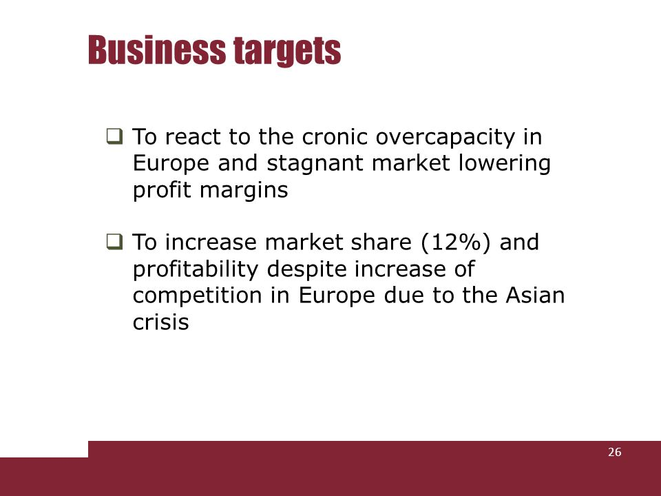 To react to the cronic overcapacity in Europe and stagnant market lowering profit margins To increase market share (12%) and profitability despite increase of competition in Europe due to the Asian crisis Business targets 26