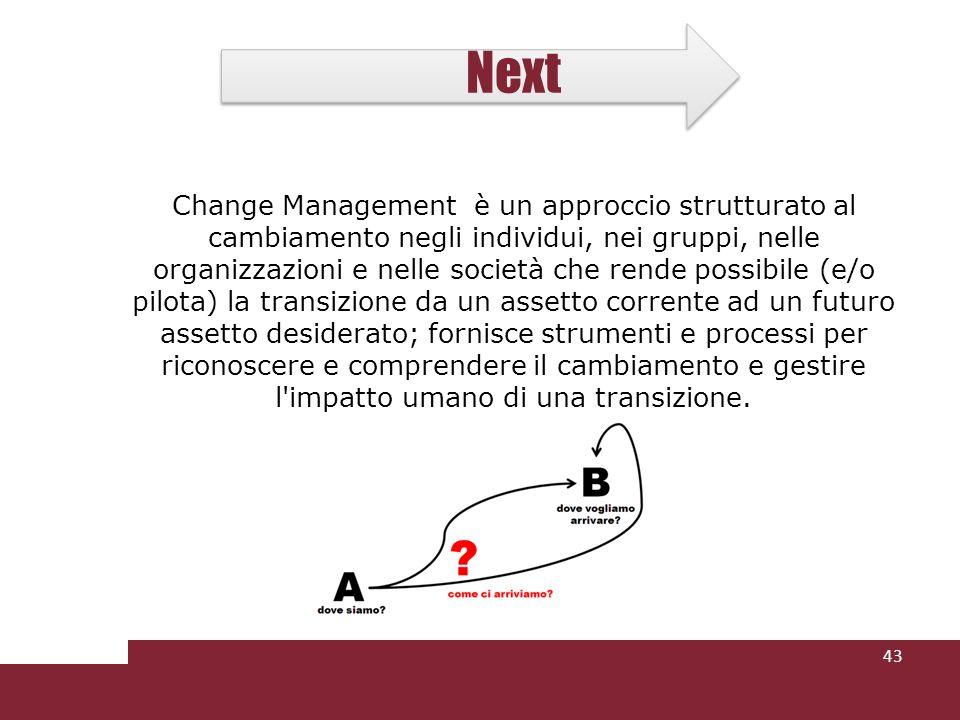 Next Change Management è un approccio strutturato al cambiamento negli individui, nei gruppi, nelle organizzazioni e nelle società che rende possibile (e/o pilota) la transizione da un assetto corrente ad un futuro assetto desiderato; fornisce strumenti e processi per riconoscere e comprendere il cambiamento e gestire l impatto umano di una transizione.