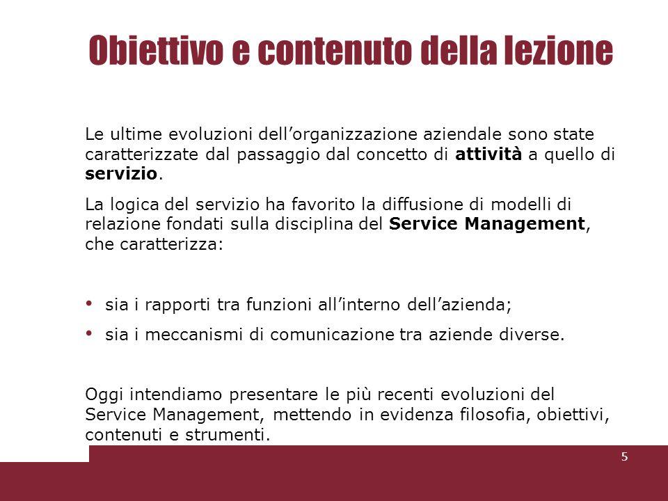 Lapproccio del Service Management 6 Il Service Management è lapproccio metodologico utilizzato per sostenere efficacemente nel tempo la gestione del servizio, attraverso il disegno e limplementazione di una nuova struttura organizzativa e di controllo, supportata da strumenti operativi e gestionali innovativi.