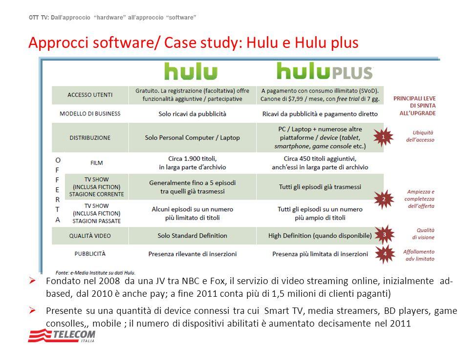 OTT TV: Dallapproccio hardware allapproccio software Approcci software/ Case study: Hulu e Hulu plus Fondato nel 2008 da una JV tra NBC e Fox, il serv