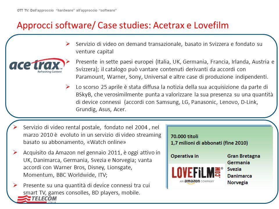 OTT TV: Dallapproccio hardware allapproccio software Approcci software/ Case studies: Acetrax e Lovefilm Servizio di video on demand transazionale, ba