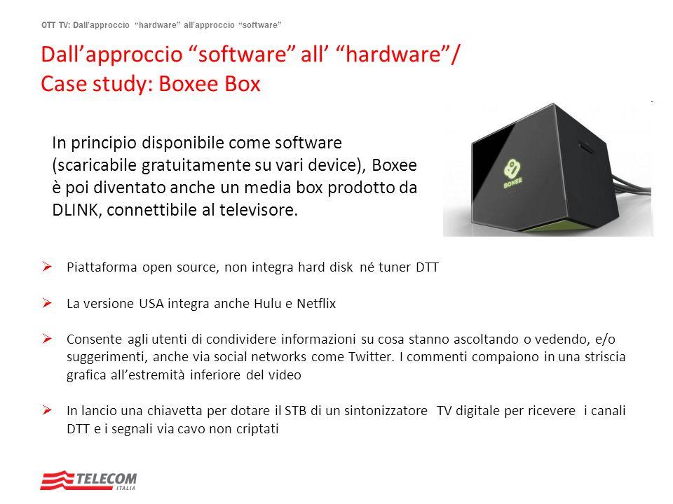 OTT TV: Dallapproccio hardware allapproccio software Dallapproccio software all hardware/ Case study: Boxee Box Piattaforma open source, non integra h