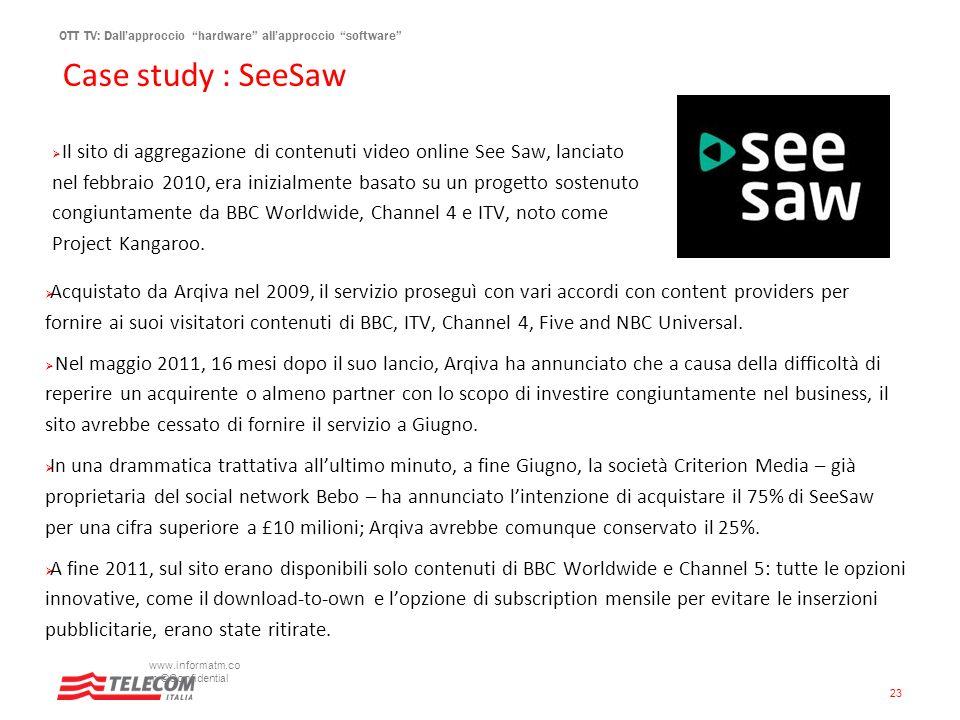 OTT TV: Dallapproccio hardware allapproccio software Case study : SeeSaw www.informatm.co m ©Confidential 23 Il sito di aggregazione di contenuti vide