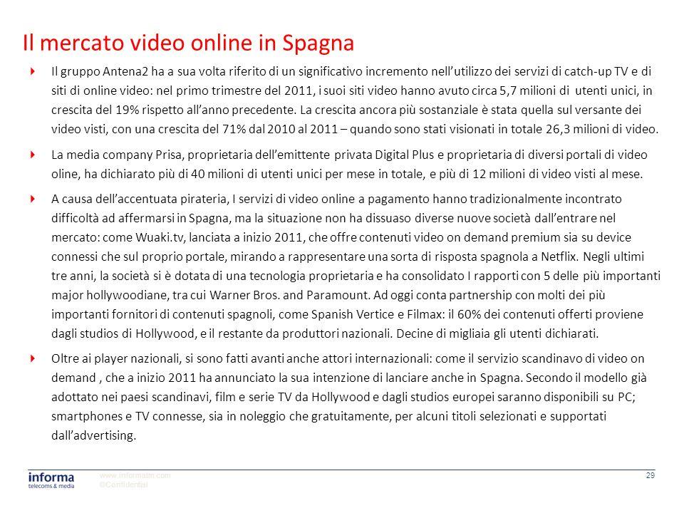 www.informatm.com ©Confidential 29 Il gruppo Antena2 ha a sua volta riferito di un significativo incremento nellutilizzo dei servizi di catch-up TV e
