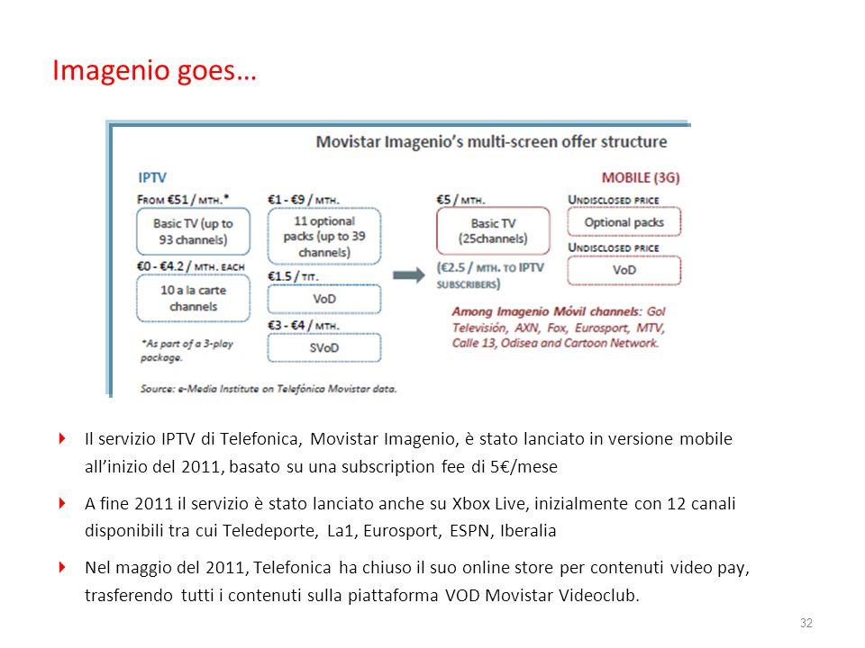 Imagenio goes… Il servizio IPTV di Telefonica, Movistar Imagenio, è stato lanciato in versione mobile allinizio del 2011, basato su una subscription f