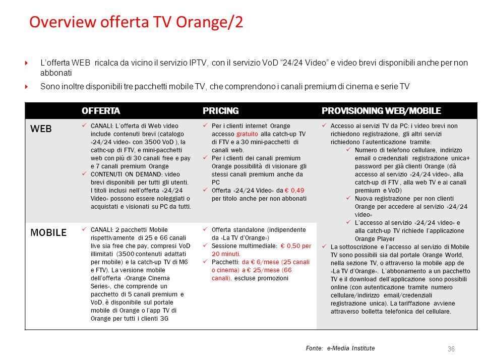 Overview offerta TV Orange/2 36 OFFERTAPRICINGPROVISIONING WEB/MOBILE WEB CANALI: Lofferta di Web video include contenuti brevi (catalogo «24/24 video
