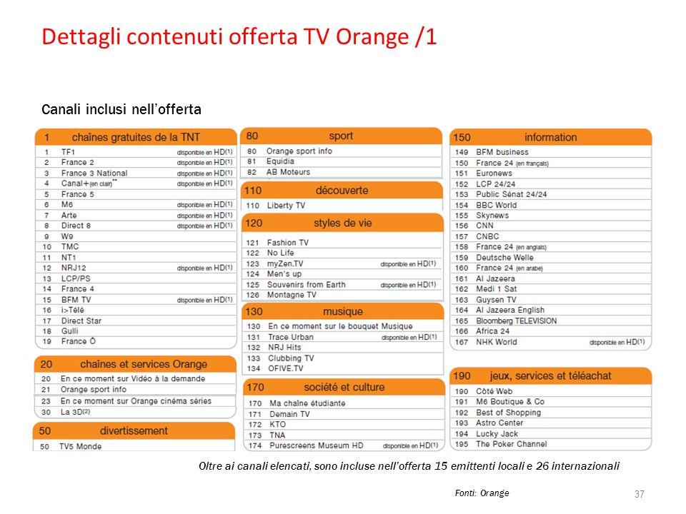 Dettagli contenuti offerta TV Orange /1 Canali inclusi nellofferta 37 Oltre ai canali elencati, sono incluse nellofferta 15 emittenti locali e 26 inte