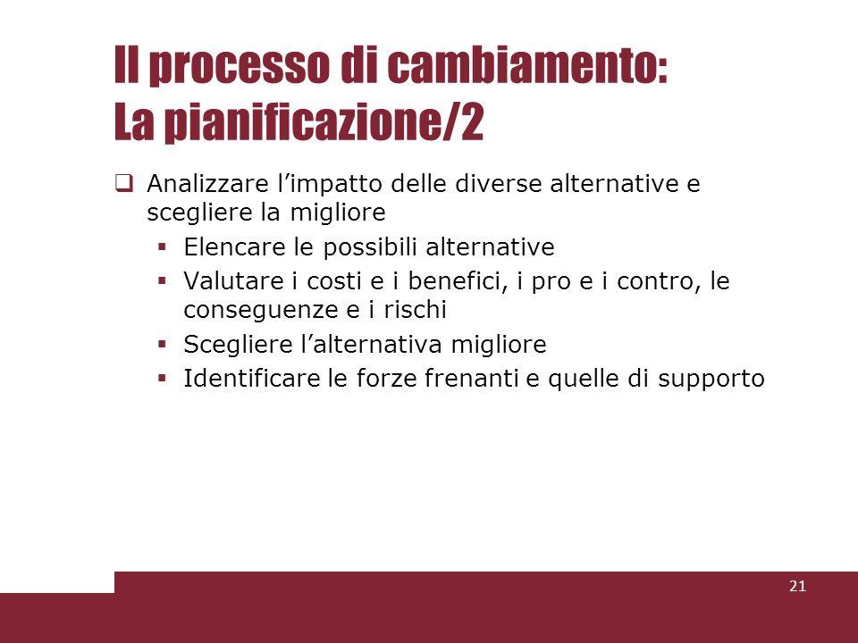 Il processo di cambiamento: La pianificazione/2 Analizzare limpatto delle diverse alternative e scegliere la migliore Elencare le possibili alternativ