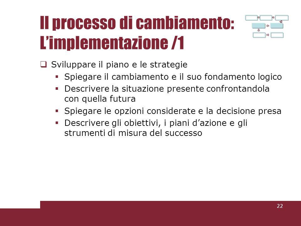 Il processo di cambiamento: Limplementazione /1 Sviluppare il piano e le strategie Spiegare il cambiamento e il suo fondamento logico Descrivere la situazione presente confrontandola con quella futura Spiegare le opzioni considerate e la decisione presa Descrivere gli obiettivi, i piani dazione e gli strumenti di misura del successo 22