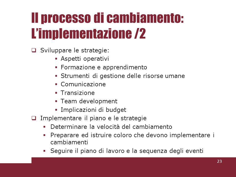 Il processo di cambiamento: Limplementazione /2 Sviluppare le strategie: Aspetti operativi Formazione e apprendimento Strumenti di gestione delle risorse umane Comunicazione Transizione Team development Implicazioni di budget Implementare il piano e le strategie Determinare la velocità del cambiamento Preparare ed istruire coloro che devono implementare i cambiamenti Seguire il piano di lavoro e la sequenza degli eventi 23