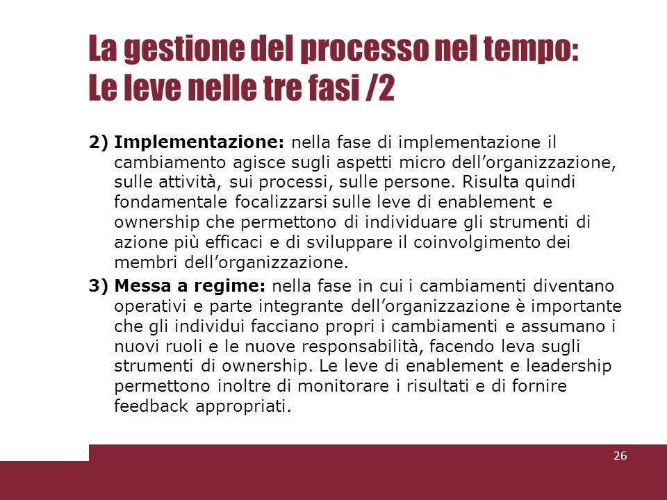 La gestione del processo nel tempo: Le leve nelle tre fasi /2 2)Implementazione: nella fase di implementazione il cambiamento agisce sugli aspetti micro dellorganizzazione, sulle attività, sui processi, sulle persone.