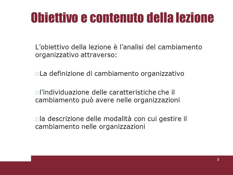 Obiettivo e contenuto della lezione Lobiettivo della lezione è lanalisi del cambiamento organizzativo attraverso: La definizione di cambiamento organi