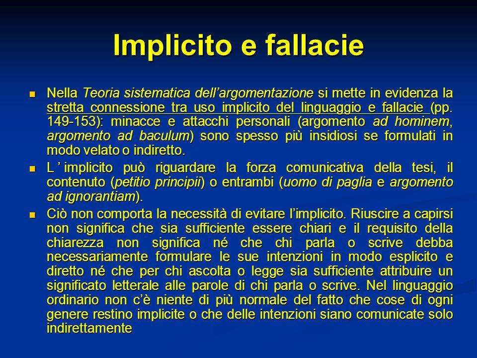 Implicito e fallacie Nella Teoria sistematica dellargomentazione si mette in evidenza la stretta connessione tra uso implicito del linguaggio e fallac