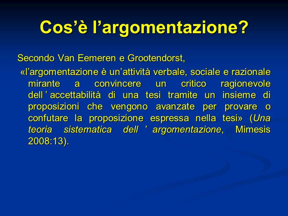 Argomentazione e cooperazione Linteresse per largomentazione è al centro della rinascita della retorica a metà del Novecento con il Traité de largumentation (1958) di Perelman e Olbrechts-Tyteca e The Uses of Argument (1958) di Toulmin.