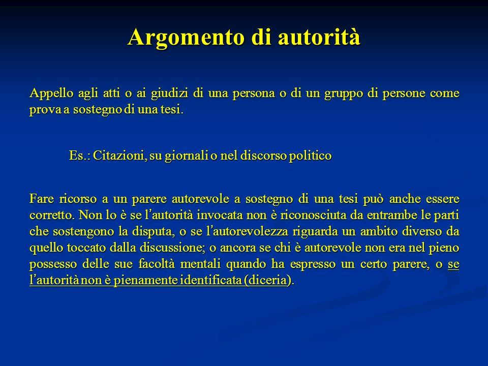 Argomento di autorità Appello agli atti o ai giudizi di una persona o di un gruppo di persone come prova a sostegno di una tesi. Es.: Citazioni, su gi
