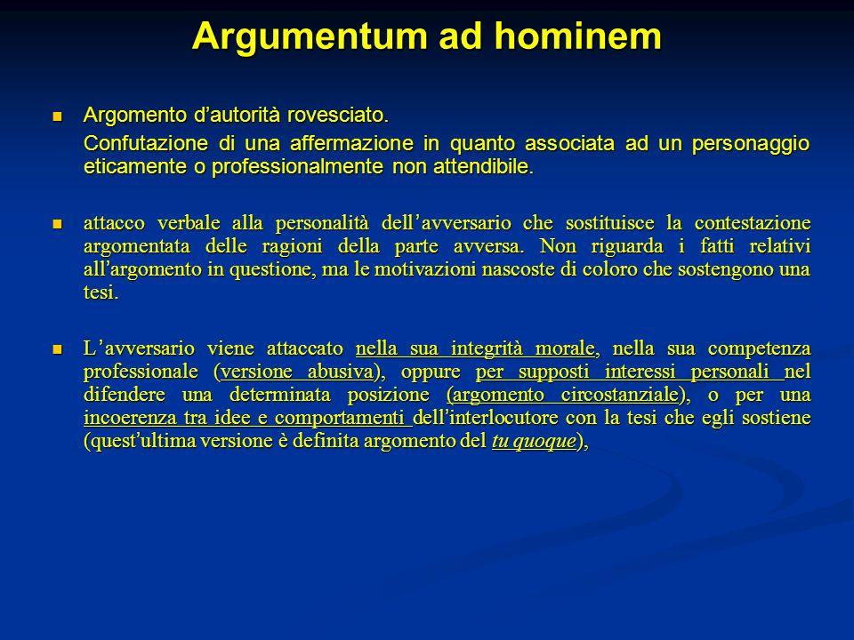 Argumentum ad hominem Argomento dautorità rovesciato. Argomento dautorità rovesciato. Confutazione di una affermazione in quanto associata ad un perso