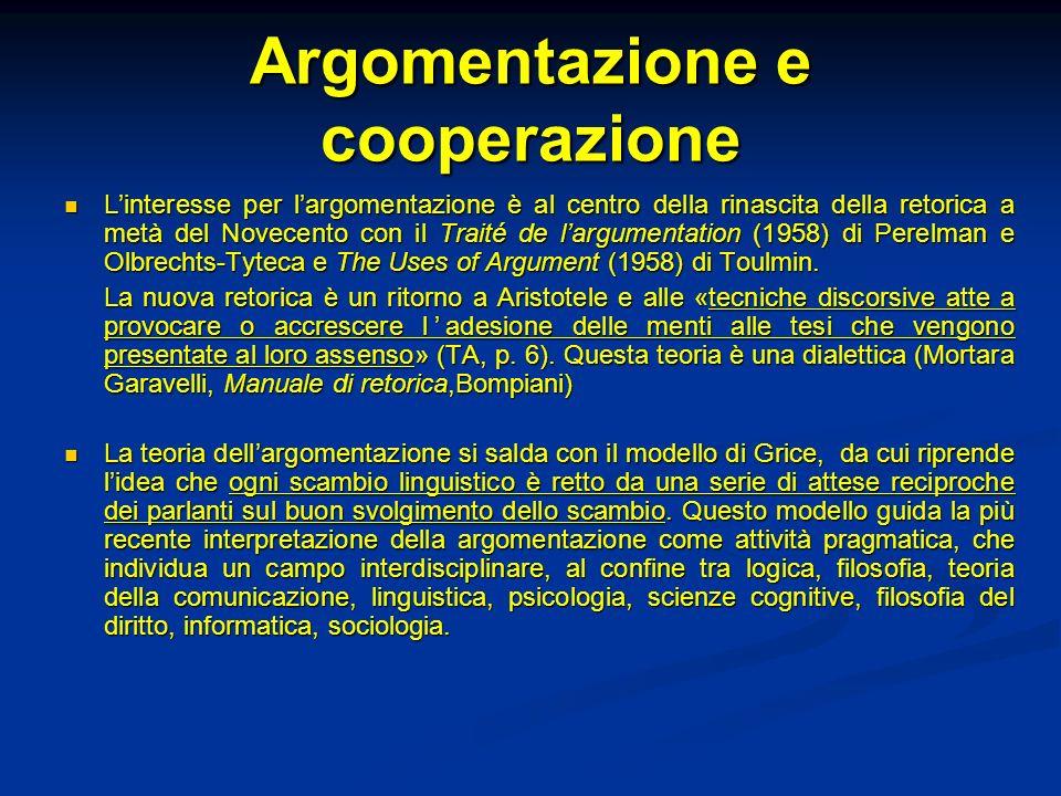 Argomentazione e cooperazione Linteresse per largomentazione è al centro della rinascita della retorica a metà del Novecento con il Traité de largumen