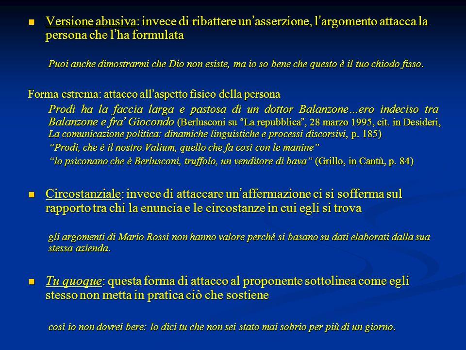 Versione abusiva: invece di ribattere un asserzione, l argomento attacca la persona che l ha formulata Versione abusiva: invece di ribattere un asserz