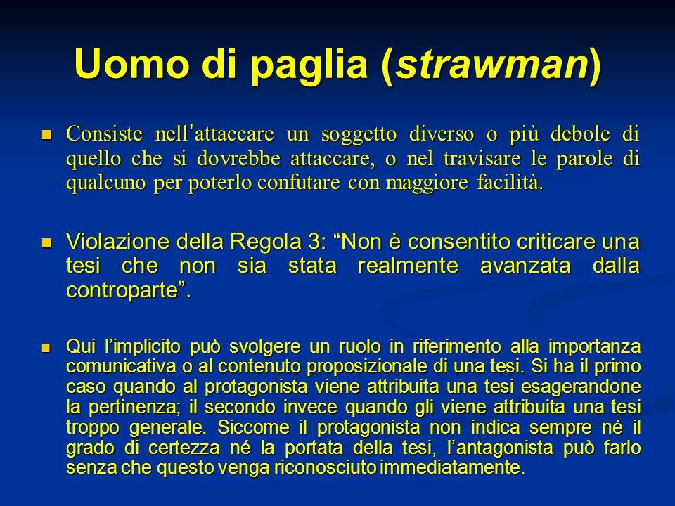 Uomo di paglia (strawman) Consiste nell attaccare un soggetto diverso o più debole di quello che si dovrebbe attaccare, o nel travisare le parole di q