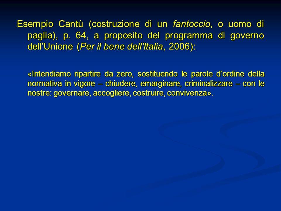 Esempio Cantù (costruzione di un fantoccio, o uomo di paglia), p. 64, a proposito del programma di governo dellUnione (Per il bene dellItalia, 2006):