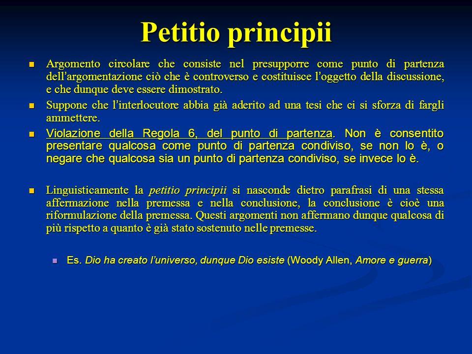 Petitio principii Argomento circolare che consiste nel presupporre come punto di partenza dell argomentazione ciò che è controverso e costituisce l og