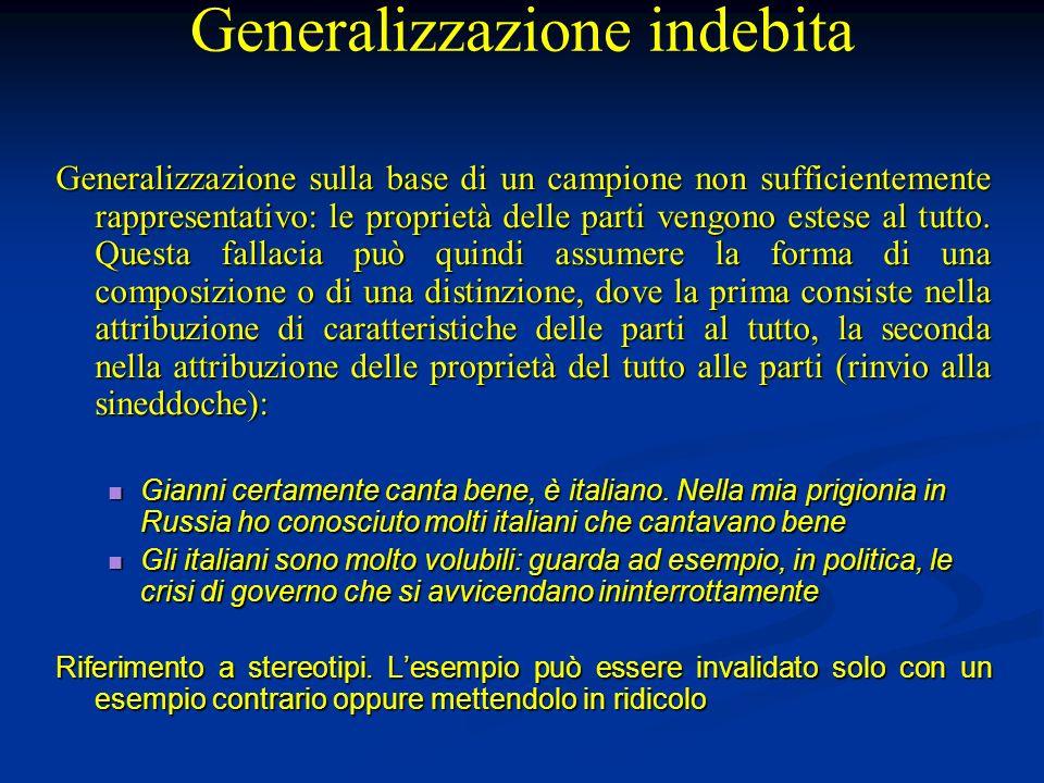 Generalizzazione indebita Generalizzazione sulla base di un campione non sufficientemente rappresentativo: le proprietà delle parti vengono estese al