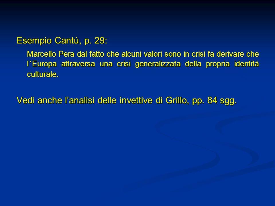 Esempio Cantù, p. 29: Marcello Pera dal fatto che alcuni valori sono in crisi fa derivare che lEuropa attraversa una crisi generalizzata della propria