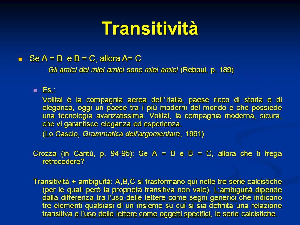 Transitività Se A = B e B = C, allora A= C Se A = B e B = C, allora A= C Gli amici dei miei amici sono miei amici (Reboul, p. 189) Es.: Es.: Volital è